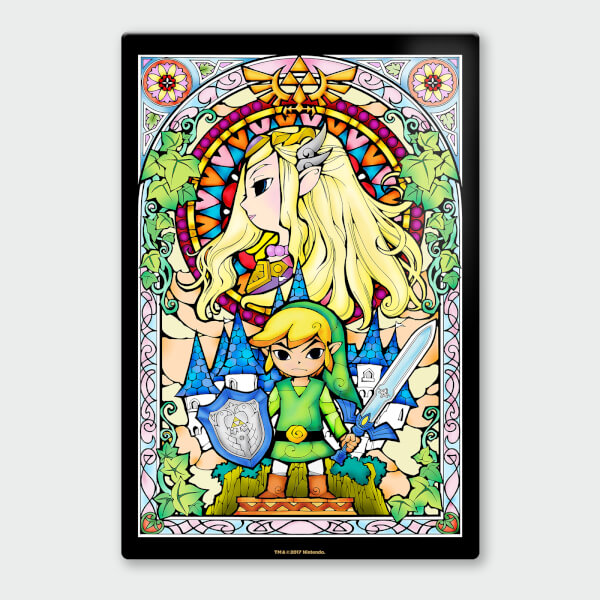 Nintendo Legend of Zelda Link and Zelda Chromalux High Gloss Metal Poster