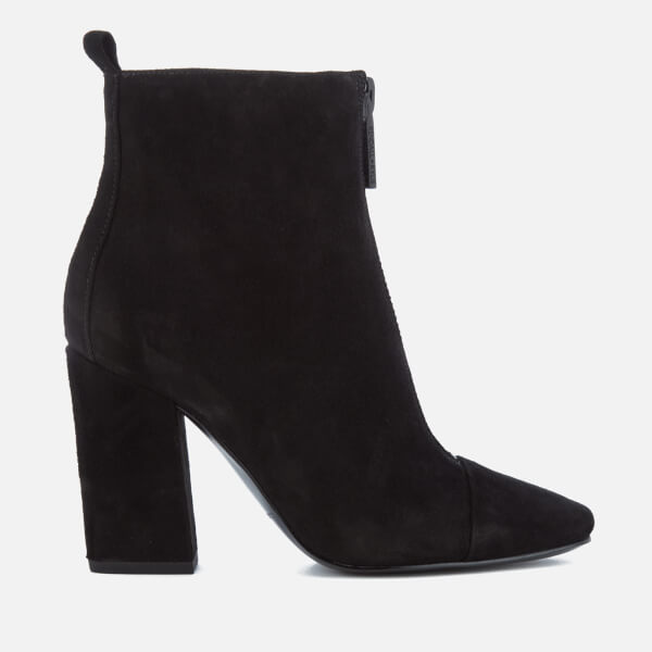 Kendall + Kylie Women's Raquel Suede Zip Front Heeled Ankle Boots - Black