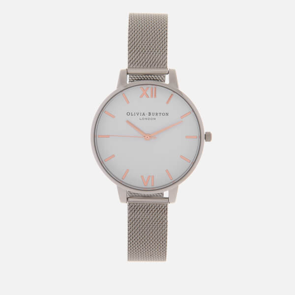 Olivia Burton Women's Big Dial White Dial Watch - Rose Gold/Silver Mesh