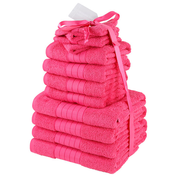 Highams 100% Cotton 12 Piece Towel Bale (500GSM) - Fuchsia