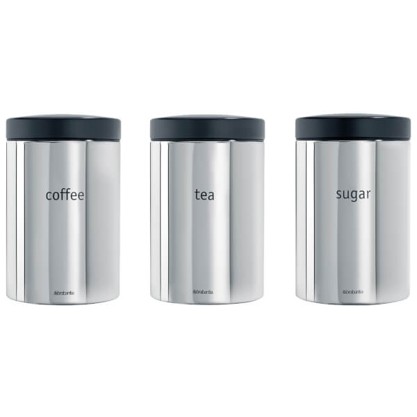Brabantia Tea Coffee Sugar Canister Set Brilliant Steel