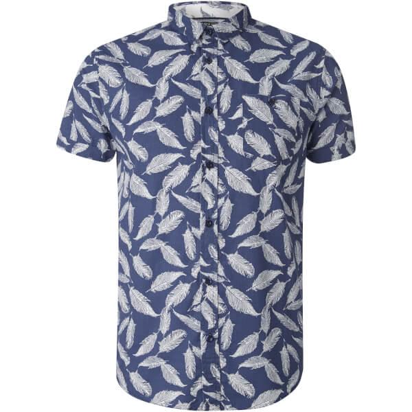Brave Soul Men's Antonio Feather Print Short Sleeve Shirt - Navy