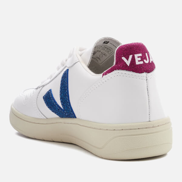 7c9904b7a8bfc6 Veja Women s V-10 Leather Trainers - Extra White Neon Magenta  Image 4