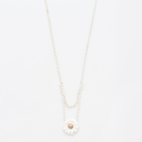 Olivia Burton Women's Daisy Drop Necklace - Silver and Rose Gold
