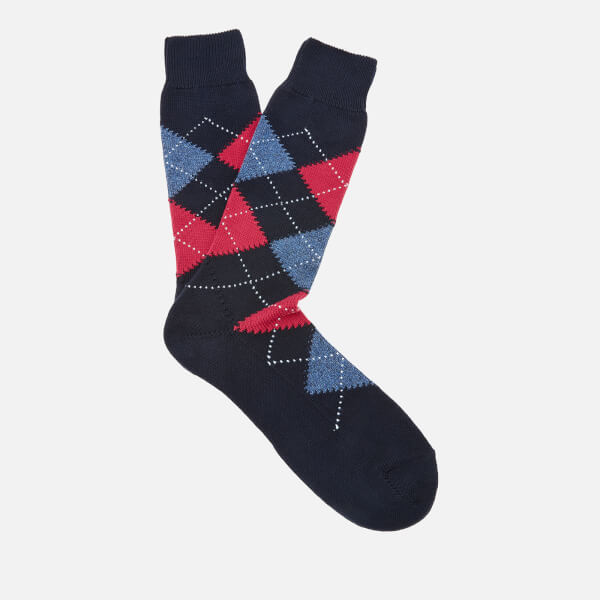 Pantherella Men's Turnmill Egyption Cotton Argyle Socks - Navy