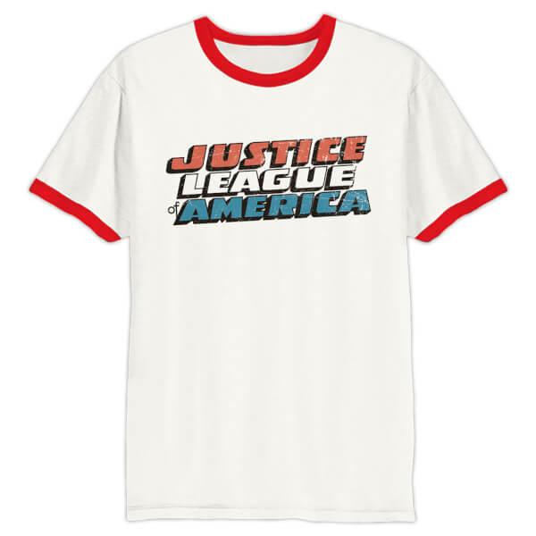 DC Comics Men's Justice League Logo Ringer T-Shirt - White