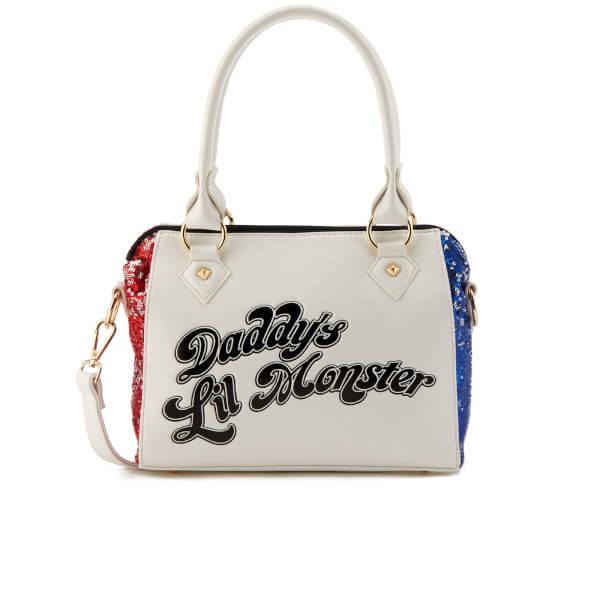 DC Comics Women's Suicide Squad Harley Quinn Sequin Handbag - White