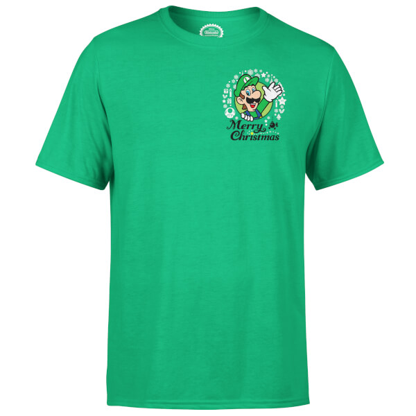 Nintendo Super Mario Luigi Merry Christmas Pocket Wreath Green T-Shirt