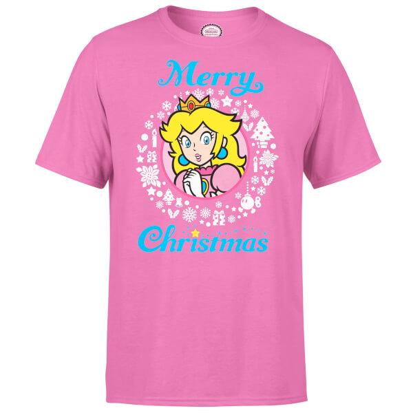 Nintendo Super Mario Peach White Wreath Merry Christmas Pink T-Shirt