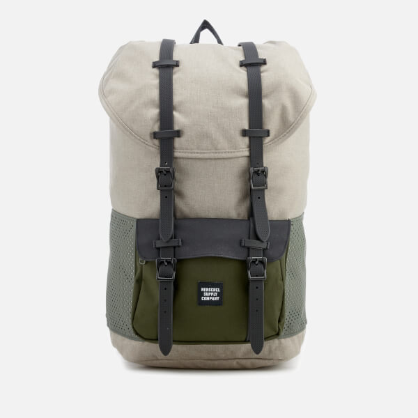 Herschel Supply Co. Men's Little America Backpack - Light Khaki Crosshatch/Forest Night