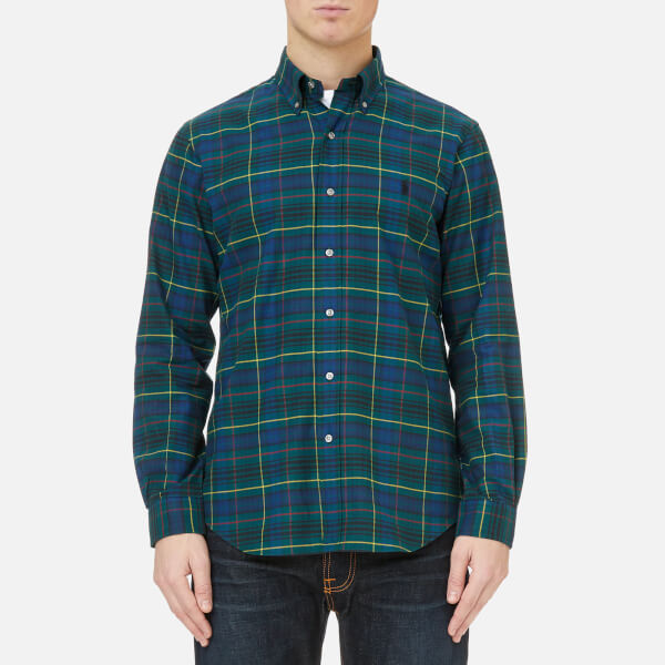 Polo ralph lauren men 39 s brushed twill shirt green check for Brushed cotton twill shirt