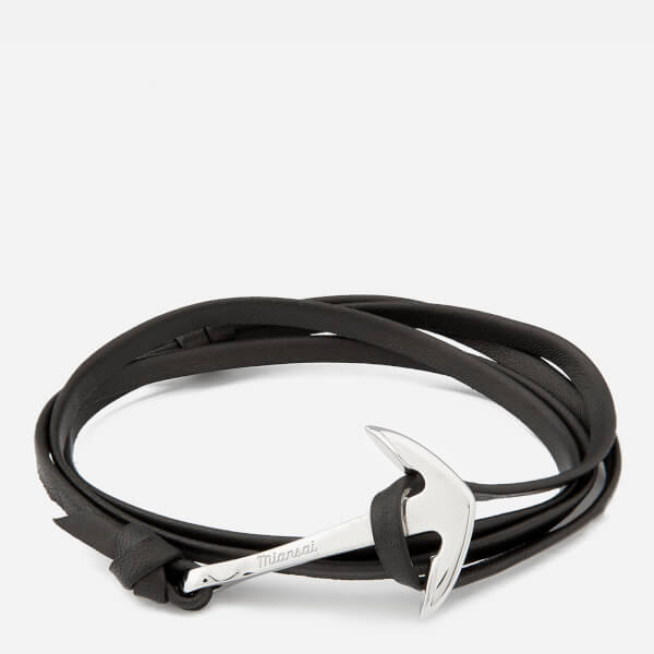 Miansai Men's Leather Bracelet with Silver Anchor - Black