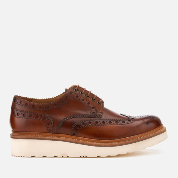 Grenson Men's Archie V Hand Painted Leather Brogues - Tan