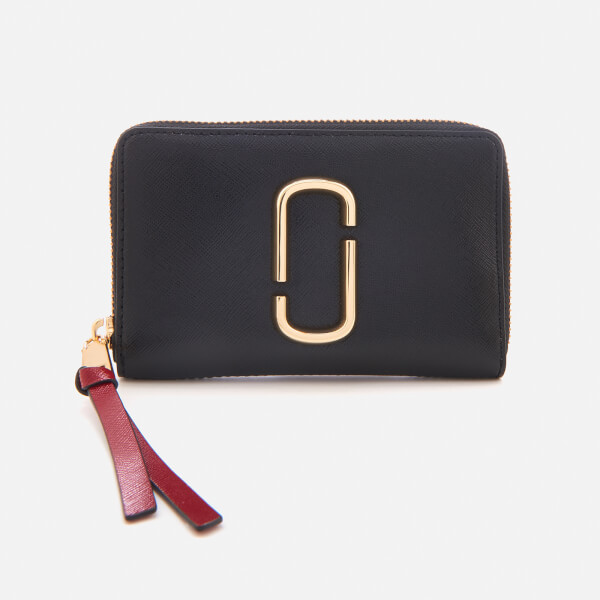 Marc Jacobs Women's Small Standard Zip Around Purse - Black/Chianti