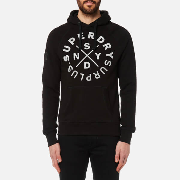 c3e616061bcd Superdry Men s Surplus Goods Graphic Hoody - Jet Black Mens Clothing ...