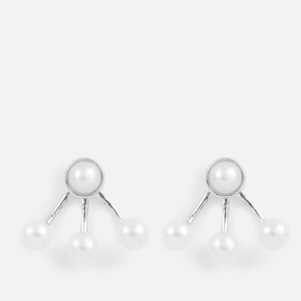 Cornelia Webb Women's Pearled Small Spider Earrings - Silver