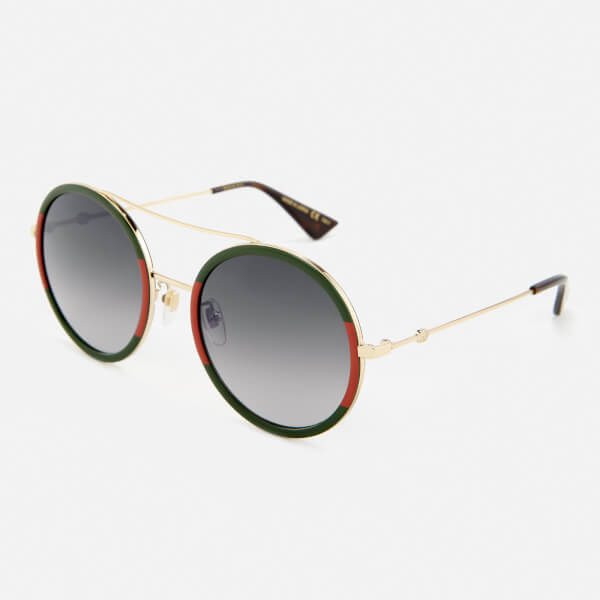 Gucci Women\'s Round Frame Sunglasses - Gold/Green - Free UK Delivery ...