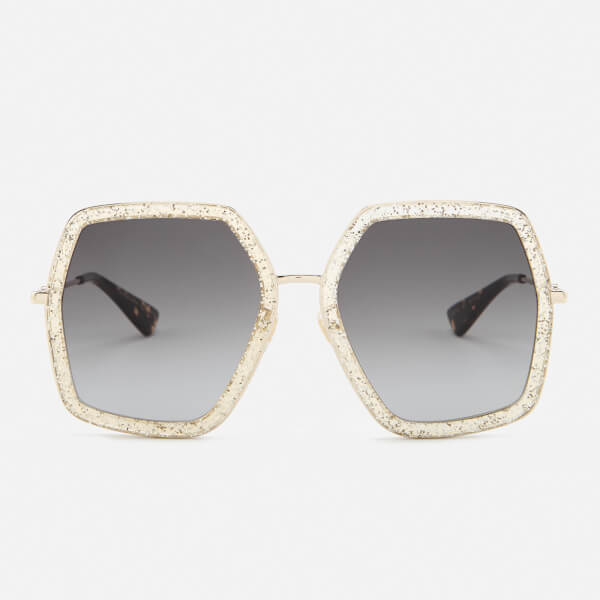 Gucci Women\'s Metal Square Frame Sunglasses - Gold/Brown - Free UK ...