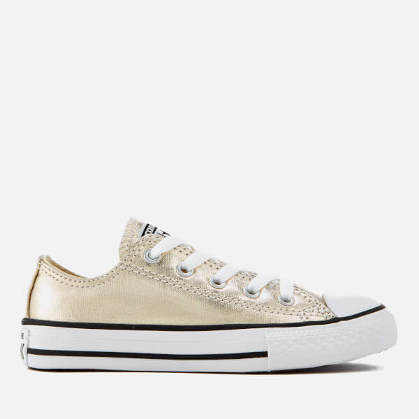 0105adfe9caf Converse Kids  Chuck Taylor All Star Ox Trainers - Light Gold White Black
