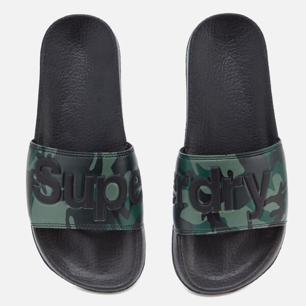 Superdry Men S Pool Slide Sandals Black Camo Free Uk