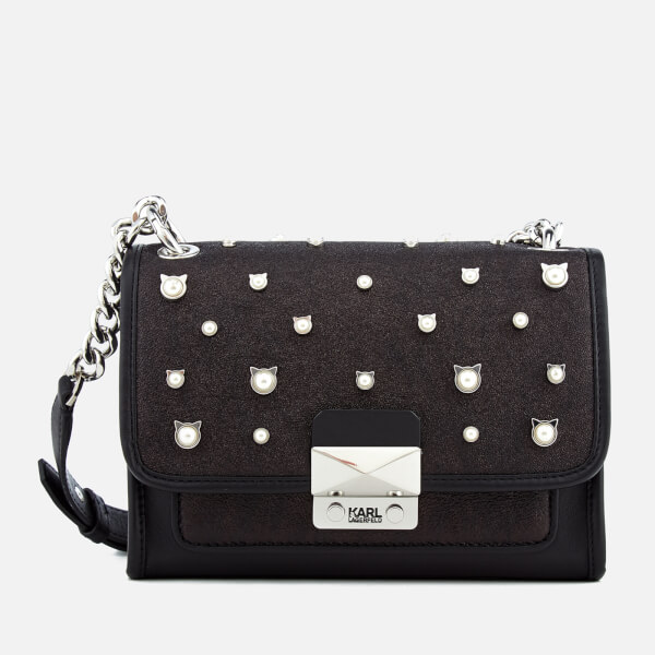 Karl Lagerfeld Women's Cat Pearl Mini Handbag - Black