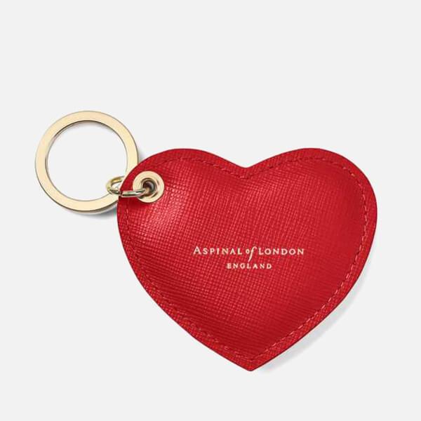 Aspinal of London Women's Heart Keyring - Scarlet Saffiano