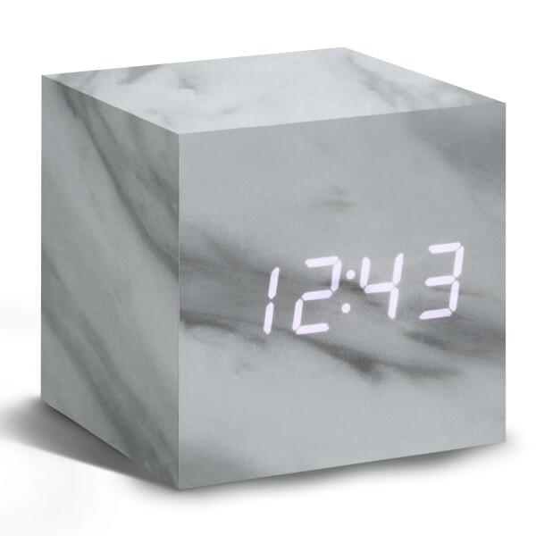 Gingko Cube Click Clock - Marble