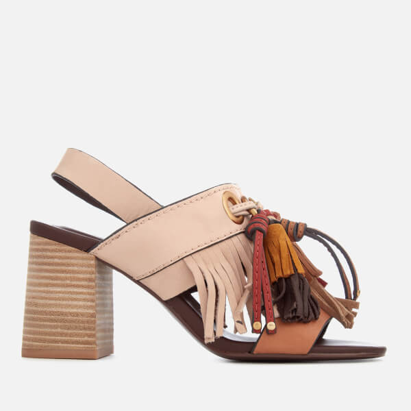 37b78bfb63f4a See By Chloé Women s Leather Tassel Heeled Sandals - Beige
