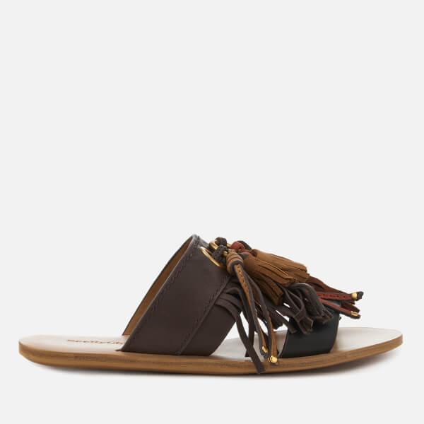 See By Chloé Women's Leather Tassel Mule Sandals - Black