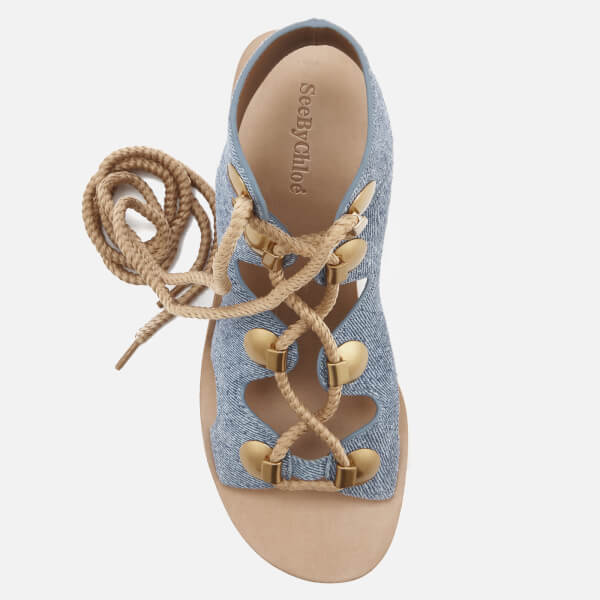 See By Chloé Women's Denim Lace Up Sandals - Denim