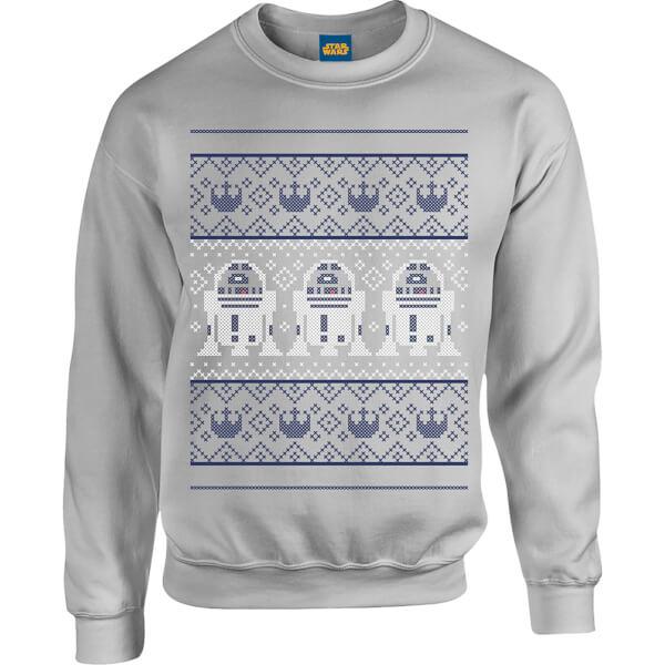 Star Wars R2D2 Christmas Knit Grey Christmas Sweatshirt