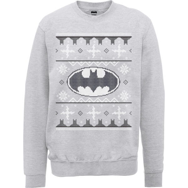DC Batman Christmas Knit Logo Grey Christmas Sweatshirt