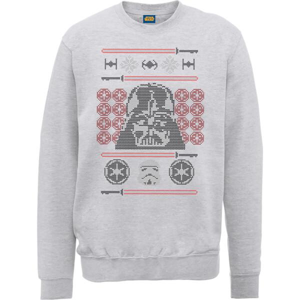 Star Wars Darth Vader Face Knit Grey Christmas Sweatshirt