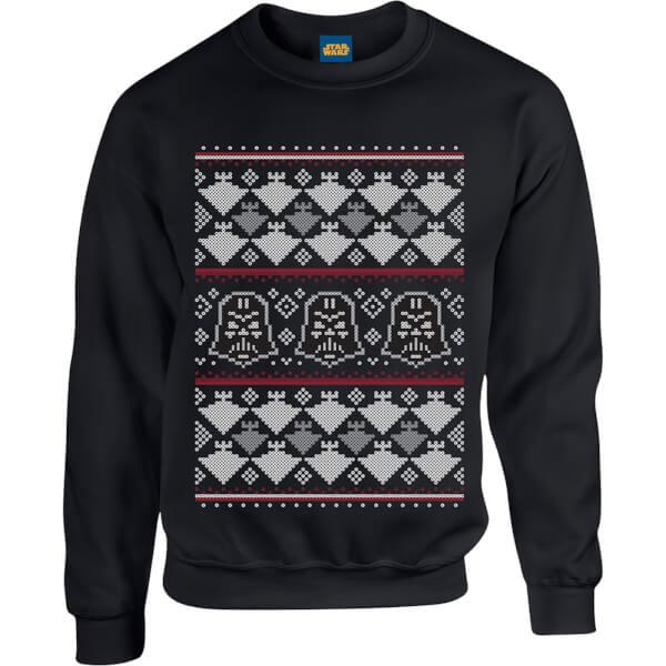 Star Wars Christmas Darth Vader Imperial Starship Knit Black Christmas Sweatshirt