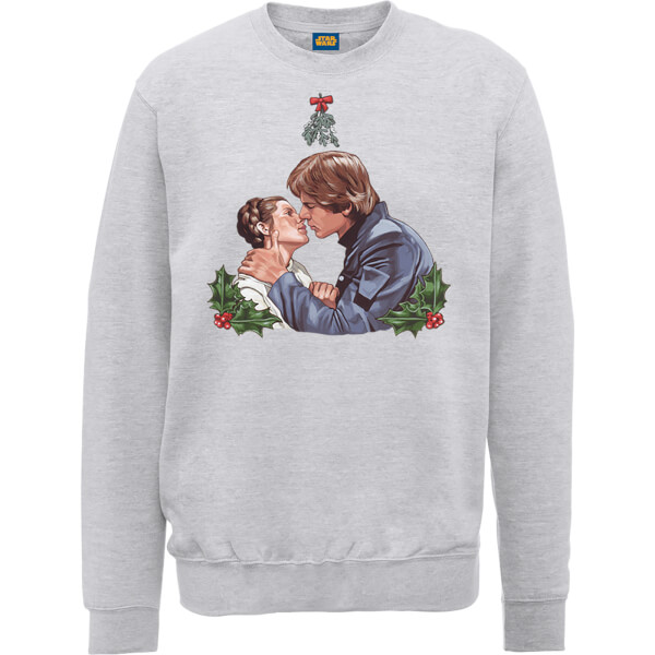 Star Wars Mistletoe Kiss Grey Christmas Sweatshirt