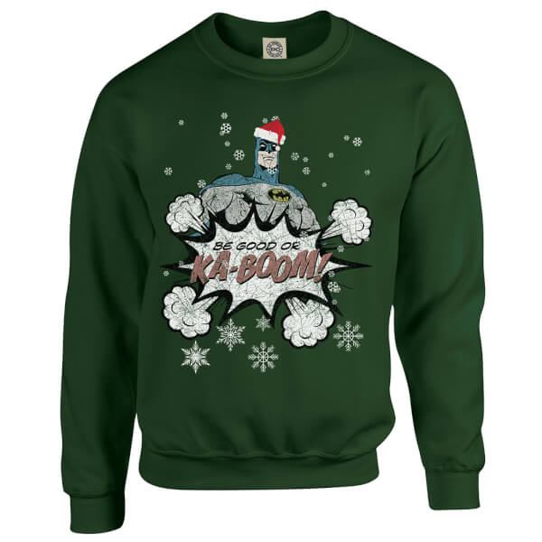 DC Comics Originals Batman Be Good Or Kaboom Green Christmas Sweatshirt