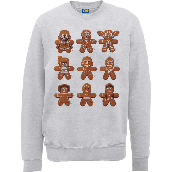 star wars gingerbread characters grey christmas sweatshirt. Black Bedroom Furniture Sets. Home Design Ideas