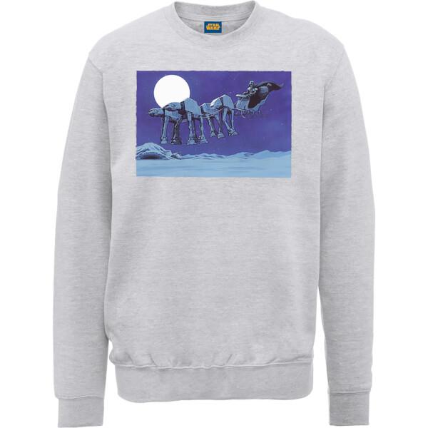 Star Wars Darth Vader AT-AT Christmas Sleigh Grey Christmas Sweatshirt