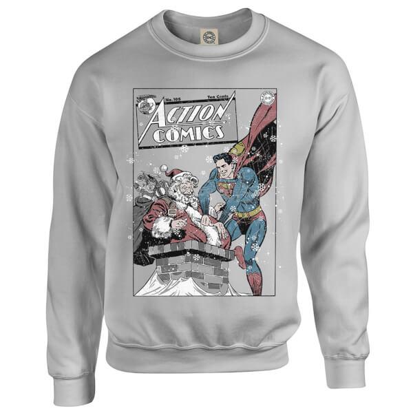 DC Comics Originals Superman Action Comics Grey Christmas Sweatshirt