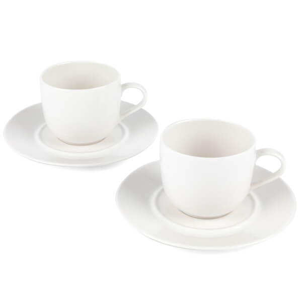 Alessi La Bella Cups and Saucers - White (Set of 2)
