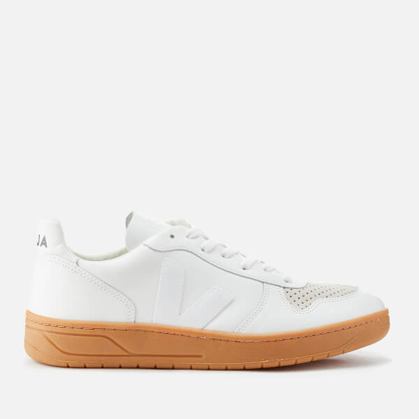 Veja Men's V-10 Leather Trainers - Extra White/Natural