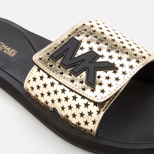 d80168ea6743 MICHAEL MICHAEL KORS Women s MK Slide Sandals - Pale Gold Womens ...