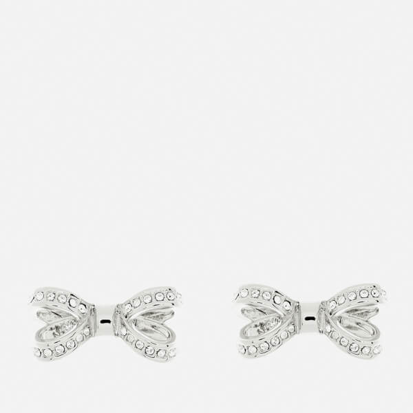 Ted Baker Women's Olitta Mini Opulent Pavé Bow Earrings - Silver/Crystal