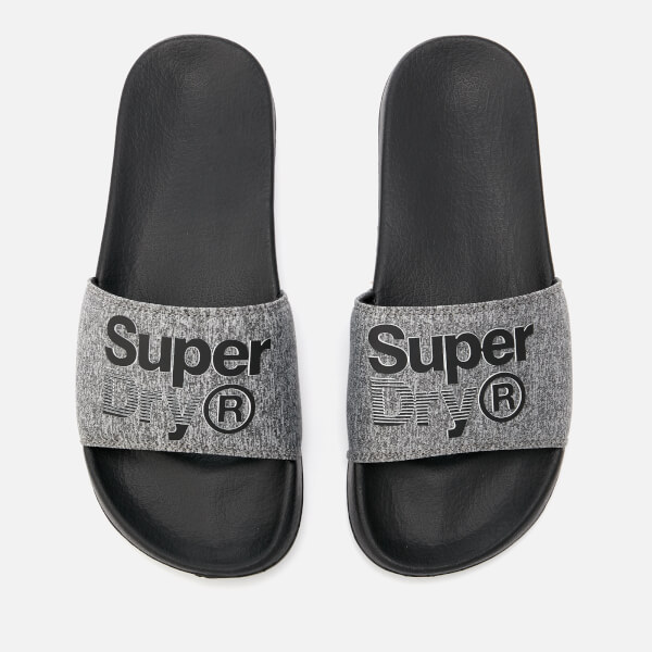 Superdry Men's Superdry Lineman Pool Slide Sandals - Black/Grey Grit