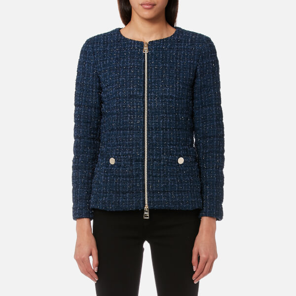 Herno Women's Short Tweed Jacket with Chain Belt - Navy - Free UK ...