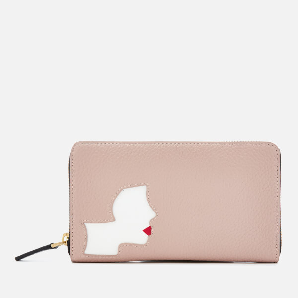 Lulu Guinness Women's Kissing Cameo Continental Wallet - Black/Nude Rose