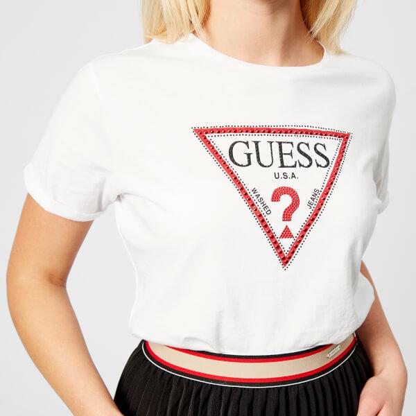 Guess Women S Triangle Logo T Shirt True White Image 4