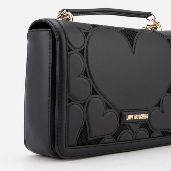 d3f9a22119ca Love Moschino Women s Heart Embossed Cross Body Bag - Black Clothing ...