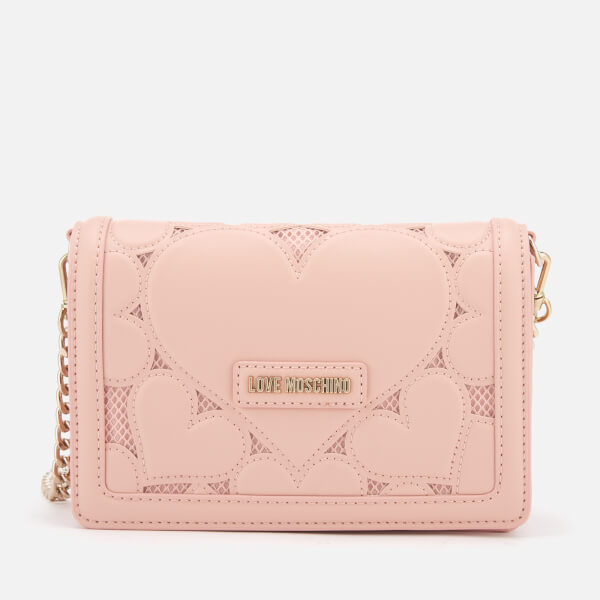 0b3399a014ee6 Love Moschino Women s Small Heart Embossed Cross Body Bag - Pink  Image 1