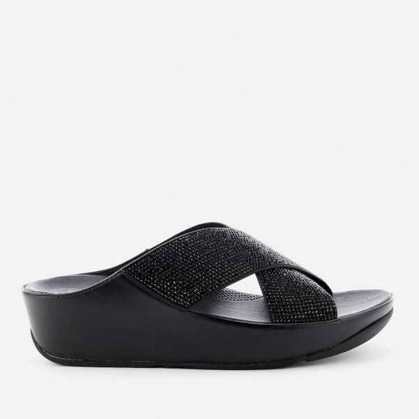 4eceecc36 FitFlop Women s Crystall Slide Sandals - Black  Image 1